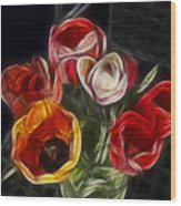 Energetic Tulips Wood Print