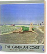 England Cambrian Coast Vintage Travel Poster Wood Print