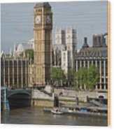England, London, Big Ben And Thames River Wood Print