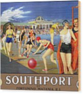 England Southport Restored Vintage Travel Poster Wood Print