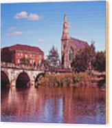 English Bridge Over The Severn At Shrewsbury Wood Print