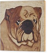 English Bulldog Coffee Painting Wood Print