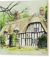 English Cottage In Cambridgshire Wood Print