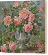 English Elegance Roses In A Silver Vase Wood Print