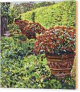 English Flower Pots Wood Print
