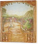 English Garden View Wood Print