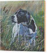 English Pointer In The Field Wood Print