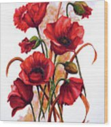English Poppies 2 Wood Print