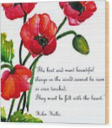 English Poppy   Poem Wood Print