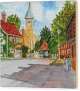 English Village Street Wood Print