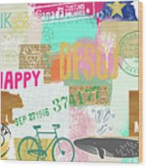 Enjoy Every Moment Collage Wood Print