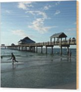 Enjoy The Beach - Clearwater Pier Wood Print