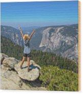 Enjoying At Yosemite Summit Wood Print
