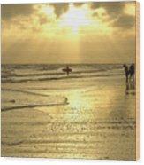 Enjoying The Beach At Sunset Wood Print