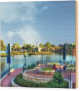 Enjoying The Shade World Showcase Lagoon Walt Disney World Wood Print