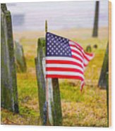 Enriched American Flag - Remember Wood Print