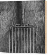 Ensilage Fork Up On Plywood In Bw 66 Wood Print