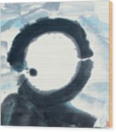Quietude - Enso Moon Rising Above The Mountain Wood Print