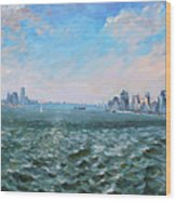 Entering In New York Harbor Wood Print