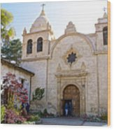Entering The Church Sanctuary At Carmel Mission-california  Wood Print