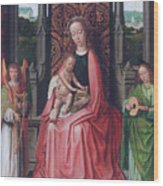 Enthroned Virgin And Child, With Angels Wood Print