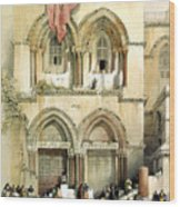 Entrance To Church Of The Holy Sepulchre Card Wood Print