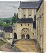Entrance To Fontevraud Abbey Wood Print