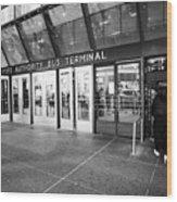 entrance to Port Authority bus terminal New York City USA Wood Print