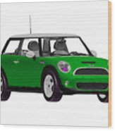 Envy Green Mini Cooper Wood Print