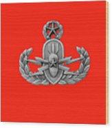 Eod Master Badge Emblem On Red Wood Print