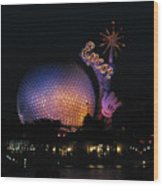 Epcot At Night II Wood Print