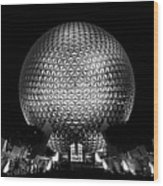 Epcot In Black And White Wood Print
