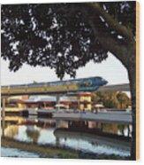 Epcot Tron Monorail Wood Print by Carol  Bradley