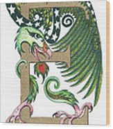 Epsilon Eagle In Green And Gold Wood Print