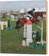 Equestrian Jumping Competition  Wood Print