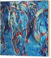 EQUINE ABSTRACT BLUE FOUR By M BALDWIN Wood Print