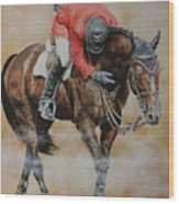 Eric Lamaze And Hickstead Wood Print by David McEwen