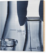 Erlenmeyer Flasks In Science Research Lab Wood Print