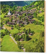 The Alpine Village Of Ernen In Switzerland  Wood Print
