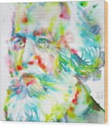 Ernst Haeckel - Watercolor Portrait Wood Print