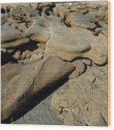 Eroded Beach Rock Wood Print