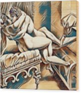 Erotic Abstract Four Wood Print