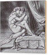 Erotic Nude Drawing One Wood Print