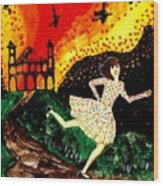Escape From The Burning House Wood Print