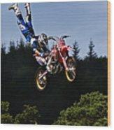 Escaping Motorbike Wood Print