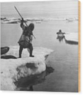 Eskimo Fishermen Wood Print