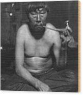 Eskimo Smoking Pipe, Photograph Wood Print by Everett