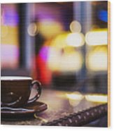Espresso Coffee Cup In Cafe At Night Wood Print
