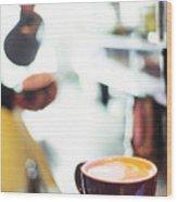 Espresso Expresso Italian Coffee Cup With Machine  Wood Print