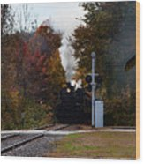 Essex Steam Train Coming Into Fall Colors Wood Print